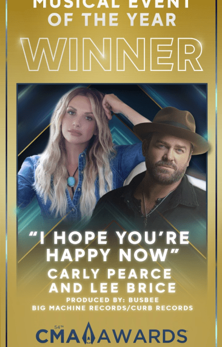 """Country Star Lee Brice Takes Home CMA Award for """"Musical Event of the Year"""" with Carly Pearce at 54th Annual CMA Awards"""